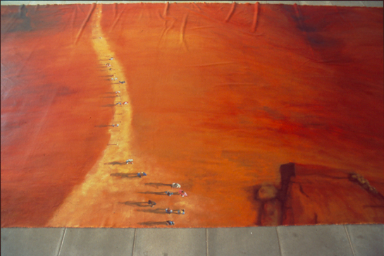 detail of ayers rock (uluru) floor based painting
