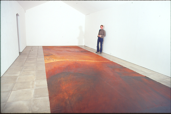 ayers rock (uluru) floor-based oil painting at ArtSway New Forest England